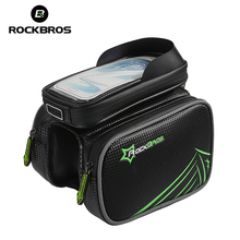 ROCKBROS MTB Rainproof Bike Frame Front Bag Touch Screen Bicycle Top Tube Bag For 5.5/6.2 Inch Mobile SmartPhone Cycling Pannier