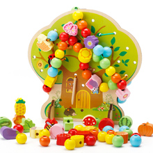 Children Cartoon Beaded Sawing Toys Good Intelligence Building Blocks Wooden Tree Toy(China)