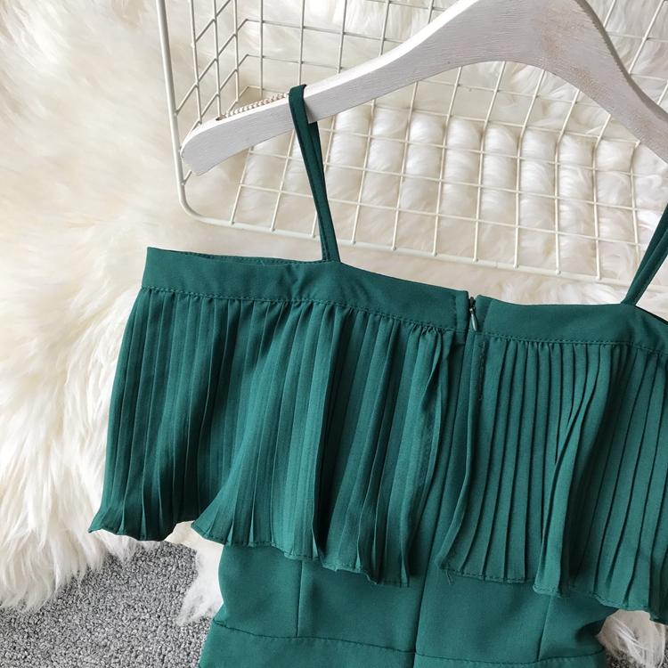 2019 Spring Women Chiffon Pleated Braces Sling Spaghetti Strap Goffer Long Dress Ladies Ruffles Empire Drapped Swing Slip Dress 156