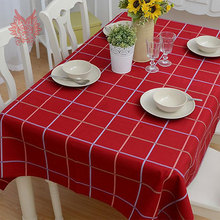 Hot sale Modern style red check print Table Cloth cotton/linen fabric for Dining Table Cover Kitchen Home Textile SP1062