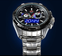Brand TVG Men Full Steel Watches LED Digital Quartz Chronograph Watch 30m Waterproof Dive Sports Military Watches relojes hombre