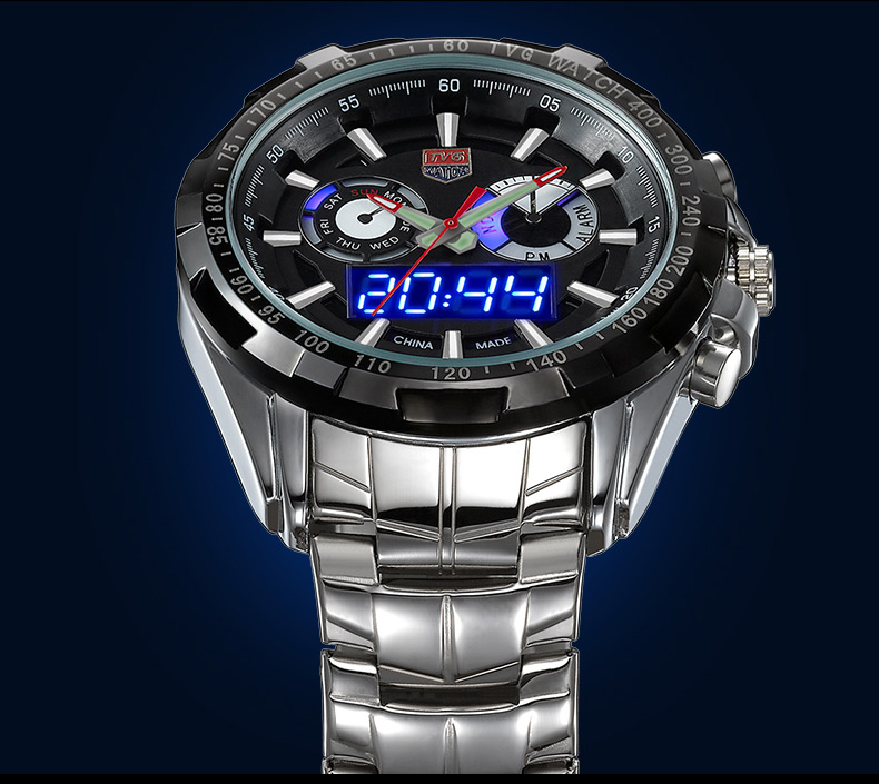 Brand TVG Men Full Steel Watches LED Digital Quartz Chronograph Watch 30m Waterproof Dive Sports Military Watches relojes hombre(China (Mainland))