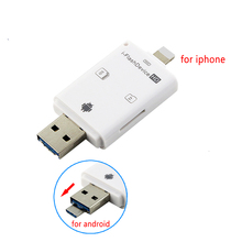 3 in 1 for iFlash Drive USB Micro SD SDHC TF Card Reader Writer for iPhone 5/5s/6/6 plus/ipad/itouch and Android Phones