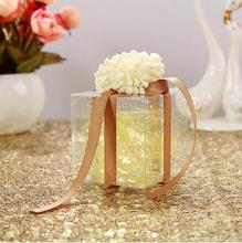 20 pcs/lot Romantic Clear PVC Square Candy Boxes with Flower Plastic Favor Gift Box Chocolate Wedding Favor Party Gift(China)
