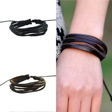 Christmas gifts  Women Men Wrap Charm Genuine Leather Bracelets Multilayer Braid Leather Bracelets Bangles Cuff