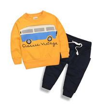 Baby Boys Clothing Set Cotton Cartoon Pattern Shirt+Pants 2pcs Tracksuit Children Clothing Autumn Fashion Sports Suit For Boys(China)