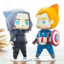 Anime Captain America Figures Pop Winter Soldier Action Figure Chibi Anime Super Heroes Toys Car Decoration Vinyl Doll Movie