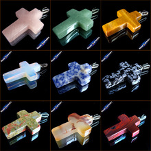 40x28x10 mm Big Cross Necklace Natural Gem Stone Crystal Opal Agates Cross Pendants Charms fit Necklaces Jewelry Making GS213H(China)