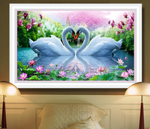 5D DIY Diamond Painting Needle Diamond Diamond Mosaic Diamond Embroidered Swan Pattern Hobbies & Crafts Home Furnishings Gifts(China)