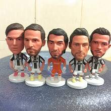 5pc/lot Soccerwe Action 2016-17 Season JUV 6.5 cm Height Football Doll Dybala Buffon Doll in White Black Kit