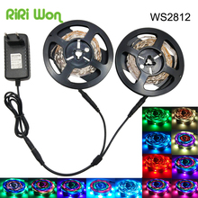 WS2812b 5050 SMD WS2811 Built-in Individually Addressable Dream Color RGB LED Strip flexible strip light 5M Diode Tape full sets