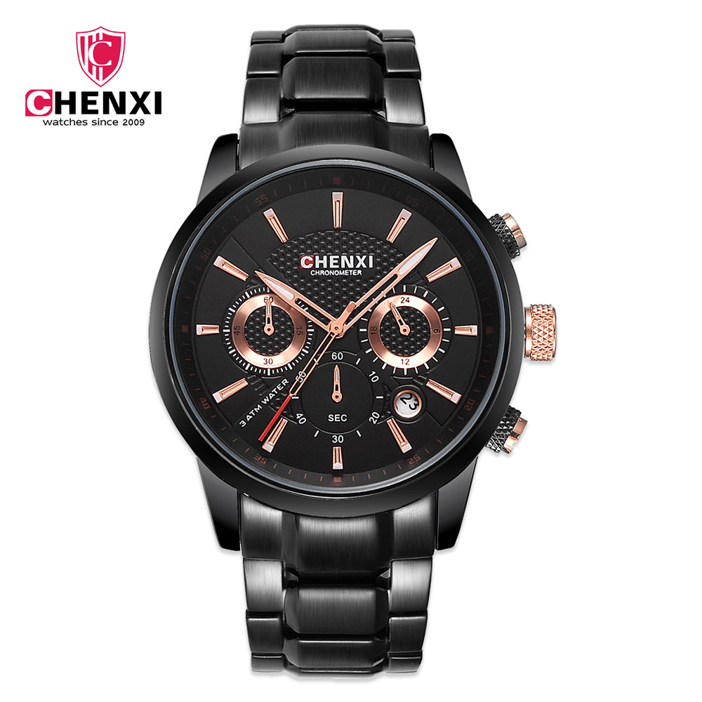 2018 Fashion Luxury Brand CHENXI Chronograph Men Sports Watches Waterproof Full Steel Casual Quartz Men Watch Relogio Masculino<br>
