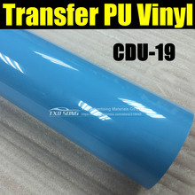CDU-19 LIGHT BLUE Transfer pu vinyl,light blue transfer PU FILM, Garment transfer pu with size:50X100CM(1Yard)/lot