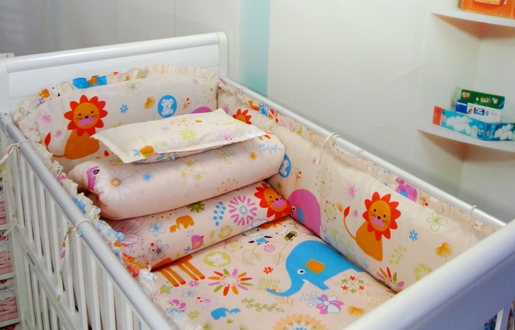 Promotion! 6PCS Crib Bedding Sets,Newborn Baby Bed Set,Bumper Filler and Sheet,Crib Bedding (bumpers+sheet+pillow cover)