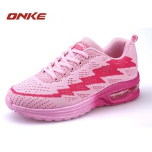 Products Fly Line Air Cushion Running Shoes For Women Pink Increased Sapatas Do Esporte Mulher Shoes Training Women Sneakers(China)