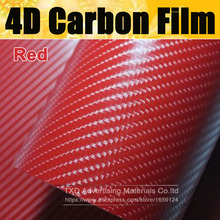 "High Quality Red 4D Carbon Fiber Vinyl Wrap Film Air Bubble Free For Car decoration with Size:4""/8""/12""/16""/20""/24""X60""/Lot(China)"
