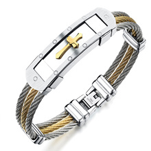 Fashion men's stainless steel bracelet punk heavy metal gold silver color cross bracelets & bangles for men jewelry accessories