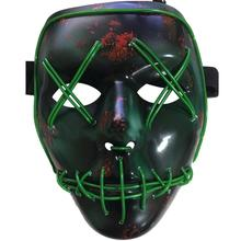 Frightening EL Wire Mask Light Up Skull LED Mask For Halloween Party Concert Scary Theme Cosplay Payday Series Masks Green Gift(China)
