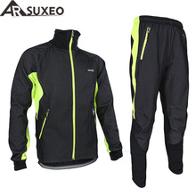 ARSUXEO 2017 Mens Winter Warm Up Thermal Cycling Bike Bicycle Jacket Pant Uniform Bib Pad Windproof Waterproof 14A(China)