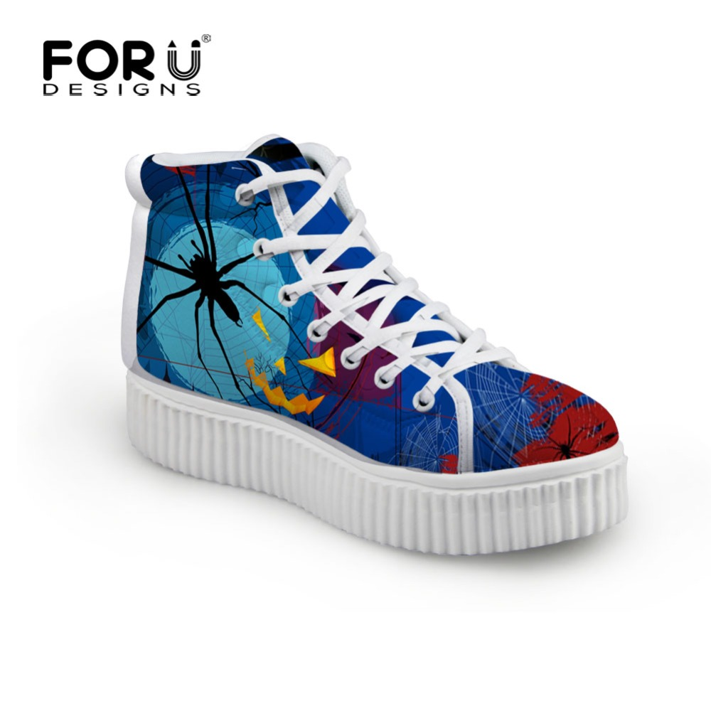 FORUDESIGNS Luxury Women Shoes High-top Platform Shoes Halloween Style Creepers Lace-up Female Flat Creeper Shoes Plus Size<br>