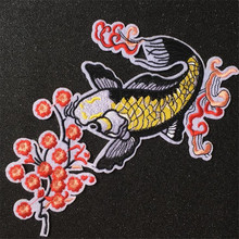 Embroidered iron on patches for clothes 223mm carp flower logo deal with it clothing biker patch DIY Sticker Free shipping(China)