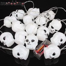 MEIDDING 16pcs Skull String Lamp Fairy Lighting Battery Operated Lamps Halloween Night Party Decor Theme Outdoor Party Supplies