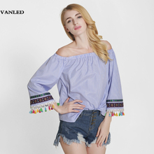 VANLED Sexy Print Embroidery Striped Women Blouses Shirt Tassel Fringe Off Shoulder Tops Summer Casual Blusas Feminina Blue XXL(China)