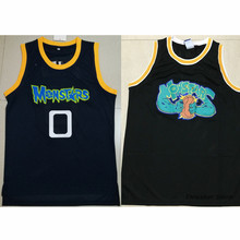 Space Jam Monstars VS Tune Squad Alien #0 Blue/Black Retro Throwback Stitched Basketball Jersey Sewn Camisa Embroidery Logos