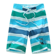 2017 Summer Stripe Boys Shorts 7-14yrs Boys Swimming Surf Shorts Cartoon Cat Children Beach Shorts Campaign Quick Drying Mouse