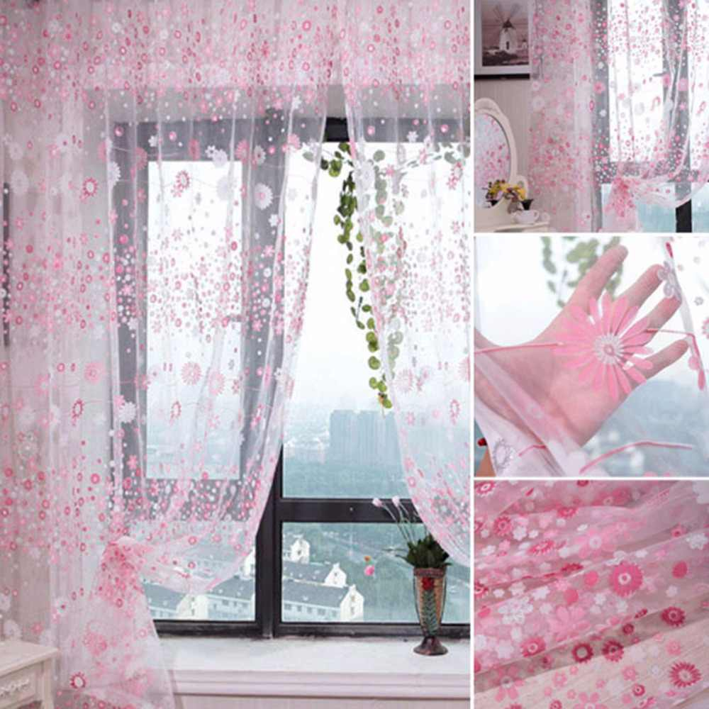 1x2cm Creative Design Pink Green Flowers Drape Tulle Balcony Bedroom Window Drape Sheer Curtain