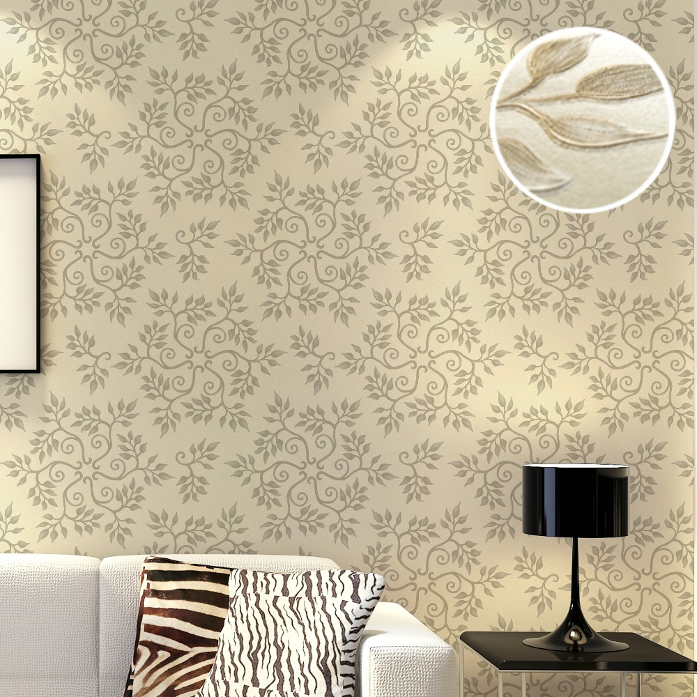 Living room wallpaper texture - Feature Modern Snowflake Design Geometric Floral Damask 3d Embossed Texture Wallpaper Beige Purple Blue Grey Wall