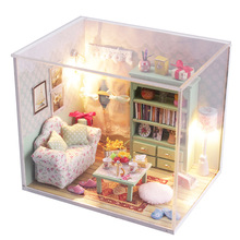 Diy Doll House 3D Handmade Wooden Miniature study room Building Model Furniture Miniature Dollhouse dust cover M012(China)
