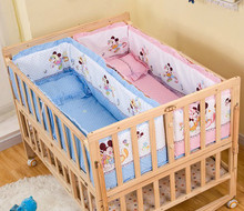 Twins baby cots solid wood lacquered large size multifunctional variable desk widened double baby bed(China)