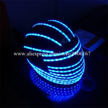 Hot Sale LED Luminous Helmet Robot Suits Halloween Christmas Headwear Face Mask Hat Party For Dancing Bar DJ Club Free Shipping