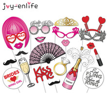 JOY-ENLIFE 22pcs Wedding Bachelorette Hen Party Bride Party Photo Booth Props Mustache DIY Kits Lips Single Party Wedding Decor(China)