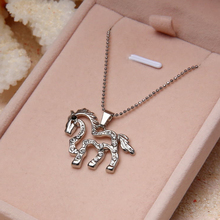 2016 Zinc Animal Collares Real Maxi Collier Beautiful Horse Necklace Women Best Friend Gift Pendant Necklaces Freeshipping