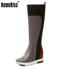 KemeKiss Female Real Leather Boots Mid-Calf Height Increasing Shoes Women Thick Platform Winter Short Plush Warm Boots Size34-39