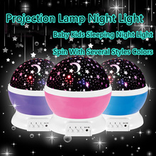 Romantic Rotating Spin Night Light Projector Sky Star Master Children Kids Baby Sleep Lighting USB Lamp Led Projection