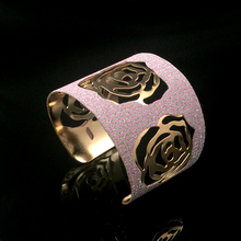 Fashion Romantic Rose Flower Big Bracelet Bangle For Women Scrub Wide Opened Hollow Cuff Bracelets Bangles Pulseras Jewelry