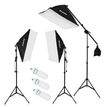 "Craphy 2000W Photo Studio kits LED Continuous Lighting Kit 20""x25"" Auto PopUp Softbox 80"" Light Stand 135w LED Lamp In DE US(China)"