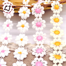 New arrived 1 yard high quality decoration Water Soluble love flower lace trim sewing crafts women cloth dress accessories DIY(China)