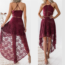 Buy Women Elegant Wedding Party Sexy Night Club Dress Sleeveless Sheath Bodycon Lace Dress Halter Neck Irregular Femme Gv415