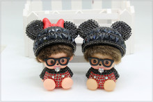 Nice Lover's Gift Monchhichi Mickey and Minnie Design Key Chain Pearl Chain Cute Doll Decorative Jewelry Charming Ornament