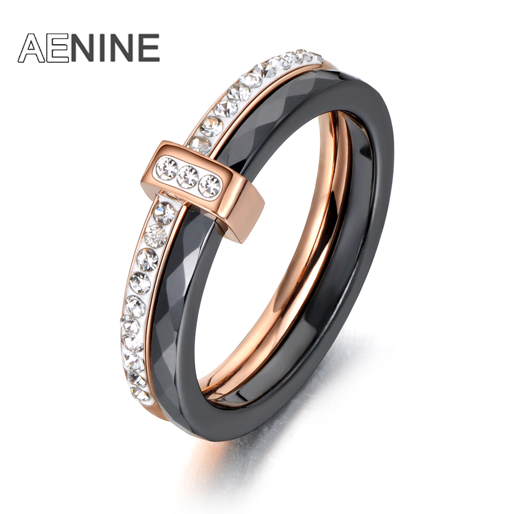 AENINE Wedding-Rings Jewelry Crystal Ceramic Engagement Rose-Gold Stainless-Steel Girls title=