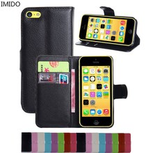 IMIDO Wallet Stand Flip Cover For iPhone 5C 5 C PU Leather Magnetic With Card for iPhone 5C 5 C(China)