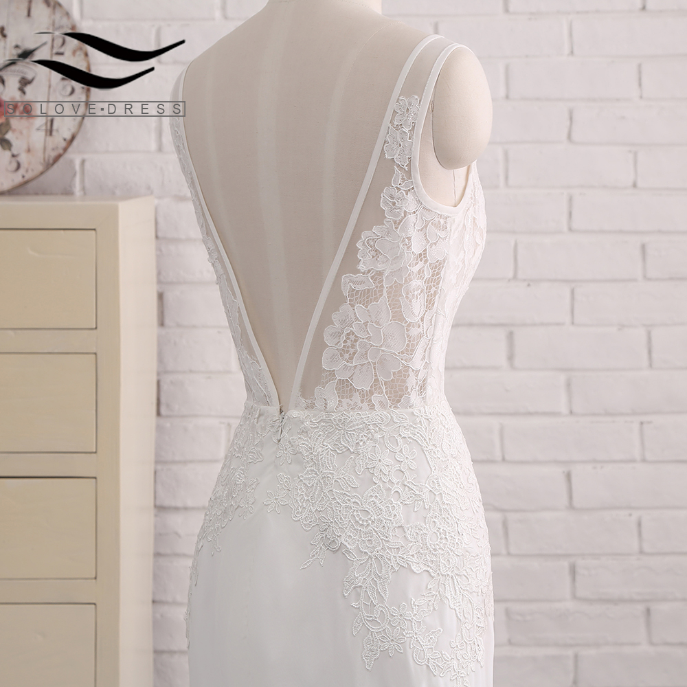 Sexy Chiffon Chapel Train Long Cap Sleeves Wedding Dress Mermaid Real Photos Bridal Gown 2018 SLD-W593 7