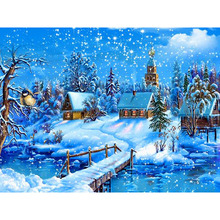 hobbies and diamond mosaic Christmas 5d diy diamond painting cross stitch diamond embroidery landscape winter scenery pattern 48(China)