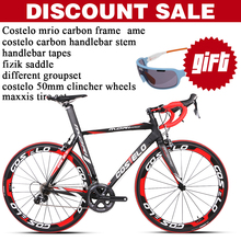 COSTELO Complete Bikes Carbon Fibre Cycling Complete Bike With Different Groupset Frame Wheels handlebar stem saddle EMS Free