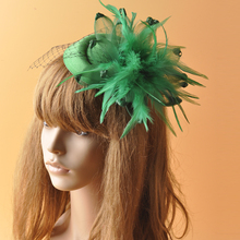 MINI Top Hat Millinery Hair Accessories For Women Feather Gauze Veil Fascinator Hair Clip Wedding Bride Headpiece Green Yellow