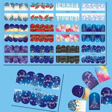 1 Set 12 Designs Beauty Glitter Nail Art Christmas Theme Water Sticker Full Snow Xmas Party DIY Nail Decor Decals CHBN205-216(China)